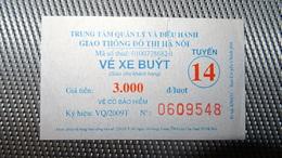 Bus Ticket From VIETNAM (Hanoi) - Bus Fahrkarte Year 2010 - Transportation