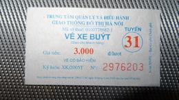 Bus Ticket From VIETNAM (Hanoi) - Bus Fahrkarte Year 2010 No 31 - Transportation