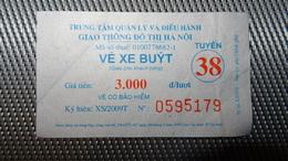 Bus Ticket From VIETNAM (Hanoi) - Bus Fahrkarte Year 2010 No 38 - Transportation
