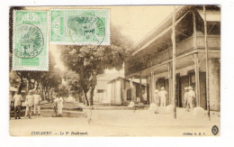 GUINEE  FRANCAISE  /  CONAKRY  /  LE  2 ème  BOULEVARD  ( Militaires Et Colons ) /  BEAUX  TIMBRES.... - Guinée Française