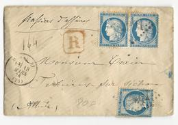 1876 - SAONE ET LOIRE - ENVELOPPE RECOMMANDEE De MARCIGNY Pour FERRIERES Sur SICHON (ALLIER) - CACHETS DE CIRE AU DOS - 1849-1876: Période Classique