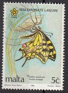 823 Malta 1993 Farfalle Butterflies Papillons Papilio Machaon Butterfly Viaggiato Used Endemica New Zealand - Vlinders