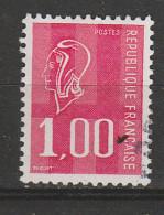 FRANCE N° 1892 1F ROUGE TYPE BECQUET BANDE DE PHOSPHORE DISJOINTE OBL - Curiosidades: 1970-79 Usados
