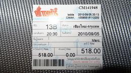Bus Ticket From THAILAND (Chiang Mai-Bangkok??) - Bus Fahrkarte Year 2010 - Transportation