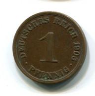 1903 Germany 1 Pfennig Coin - [ 2] 1871-1918 : German Empire