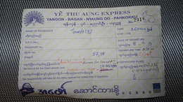 Bus Ticket From MYANMAR / BIRMA (Yangoon - Bagan) - Bus Fahrkarte Year 2010 - Transportation