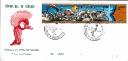 SENEGAL FDC 1974 OISEAUX PARC DU DJOUDJ GRUE COURONNEE FLAMANT ROSE  PLIURE /  7905 - Senegal (1960-...)