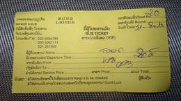 Bus Ticket From LAOS (Vien Tian - Luang Prabang) - Bus Fahrkarte Year 2010 - Transportation