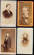 4 X PHOTO CDV ANONYME - HOMME MODE NAPOLEON III - CABINETS DIFFERENTS GAND - WAVRE -  LIEGE -  Barbe Moustache - Photos