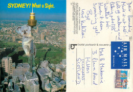 Giant Koala Climbing Sydney Tower, Sydney, NSW, Australia Postcard Posted 1990s Stamp - Sydney