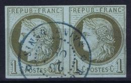 Colonies General Yv 14  Obl Used  Cachet Saint Denis Paire Reunion - Réunion (1852-1975)