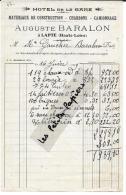 43 - Haute-loire - LAPTE - Facture BARALON - Hôtel De La Gare - Matériaux De Construction – 1929 - REF 254B - 1900 – 1949