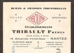 Lettre De Change - Huiles & Graisses TIBOLINE à Nantes ( 44 - Loire Atlantique ) Timbre Fiscal - Letras De Cambio