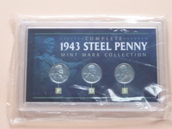 1943 STEEL PENNY ( Complete ) Mint Mark Collection ( For Grade, Please See Photo ) ! - Federal Issues