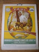 """Superbe Carton Publicitaire Original 1946 FABRIQUES D'ARMES UNIE DE LIEGE - Marques """"LE CENTAURE"""" Et """"VINDICTIVE"""" - Plaques En Carton"""