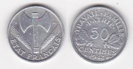 Rare 50 CENTIMES ETAT FRANCAIS 1943 B Francisque (voir Scan) - France