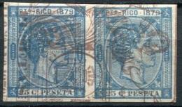 Puerto Rico Ed 26 Pareja Del 25 Cts Azul De 1879, Prueba Sobre Papel Timbrado - Puerto Rico