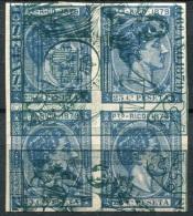 Puerto Rico Ed 26 Bloque De 4 Del 25 Cts Azul De 1879, Prueba Sobre Papel Timbrado - Puerto Rico