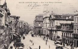 CPA BRESIL BRASIL  RIO DE JANEIRO  Rua 1° De MARCO  Animation Comerçio FARINAS De TRIGO 1913 - Rio De Janeiro