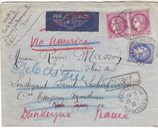 62 Beaurainville- Lettre De 1939 Pour Kobé Japon.Nombreux Cachets (Hong Kong, Japon) Et Retour à L'envoyeur.TB Pli. - Marcophilie (Lettres)