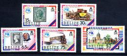 BELIZE 1984, AUSIPEX, TRAIN POSTE, MALLE-POSTE, PALAIS MELBOURNE, Timbres Sur Timbres, 5 Valeurs, Neufs / Mint. R282 - Belice (1973-...)