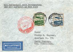 LETTRE POUR SAINT DOMINGUE VIA NEW-YORK PAR PREMIER VOL ZEPPELIN 1/5/1936  Affr; PA55&56 Yvert Et Tellier Ttb - Covers & Documents