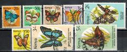 KENIA 1988 - MiNr: 415-430  Schmetterlinge  Lot 8 Verschiedene  Used - Kenia (1963-...)