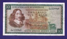 SOUTH AFRICA 1967,   Banknote , USED VF,  10 Rand, Wm Van Riebeeck, Afrikaans, 114c - South Africa