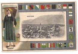 ASCONA: Trachten-/Wappenrahmen Mit Dorf 1916 - TI Tessin