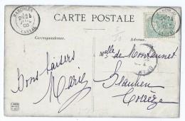 1777 - Tympan Du Portail De L'Eglise De Conques Blanc Cachet Marcolès 1906 Cantal Pour Beaulieu-sur-Dordogne - Autres Communes