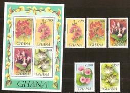 Ghana 1992 Yvertn° 1431-35 Et Bloc 210 *** MNH Cote 65 FF Flore Bloemen Fleurs - Ghana (1957-...)