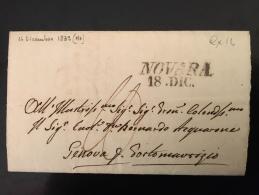 ANTICO PIEGO POSTALE-SPEDITO DA NOVARA IL 16 DICEMBRE 1832 PER  PORTO MAURIZIO-TASSA 10 SOLDI A CARICO DEL DESTINATARIO - Sardegna