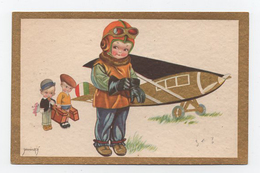 Enfant Garçon En Petit Aviateur Illustré Dorure Charmant - Cartes Humoristiques