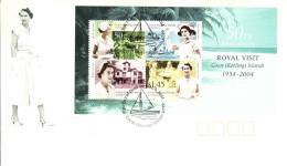 Cocos (Keeling) Islands 2004 FDC Scott #340a Souvenir Sheet Of 4 50th Anniversary Royal Visit - Cocos (Keeling) Islands
