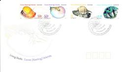 Cocos (Keeling) Islands 2007 FDC Scott #345-#347 Set Of 4 Living Shells - Cocos (Keeling) Islands