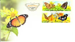 Cocos (Keeling) Islands 2012 FDC Set Of 4 Butterflies - Cocos (Keeling) Islands