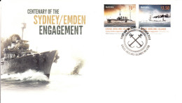 Cocos (Keeling) Islands 2014 FDC Set Of 2 Centenary Of Sydney/Emden Engagement - Cocos (Keeling) Islands