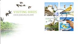 Cocos (Keeling) Islands 2015 FDC Set Of 4 Visiting Birds - World Wildlife Fund - Cocos (Keeling) Islands