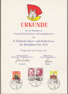 "DDR: Ministerkarte - Gedenkblatt - Teilnahmeurkunde :  ""8. Zentrales Sport- Und Kulturfest Der Dt. Post 1971"" ! - Storia Postale"