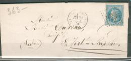 1870 - Eure Et Loire  - Entête Filigrane Ch Goussu GC 363 - Cad Type 16 - La Bazoche Gouet >>>> La Ferté Bernard -Y&T 22 - 1849-1876: Période Classique