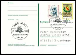 95010) BRD - SoST 6000 FRANKFURT AM MAIN 3 Vom 31.08.1990 Auf Postkarte PSo 5 - Bundespostmuseum, Kutsche - BRD