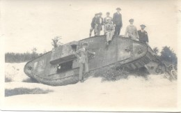 CARTE PHOTO POSTALE TANK MARK IV MESSINES 1917 UNCIRCULATED SOLD AS IS RARISIME ANIMEE