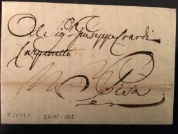 OCCUPAZIONE FRANCESE-24 MAGGIO 1802-LETTERA DA RIVOLI X PISA(REGNO D'ETRURIA-TASSA :4 SOLDI E 3 DENARI(PARI A 2CRAZIE) - Manuscripten