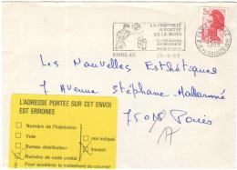 FRANCIA - France - 1988 - 2,20 Liberté De Gandon + Flamme La Proprepé A Portée De La Main + FD, Fausse Direction - Se... - Marcophilie (Lettres)