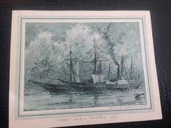 """MENU VIERGE COMPAGNIE DES MESSAGERIES MARITIMES=>NAVIRE BATEAU VOILIER""""OSIRIS""""EGYPTE 1851 DESSIN DE FREDERIC H. BERNELLE - Menus"""