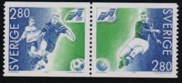 Sweden  1992 European Football Championship In Sweden 2 Val Setenant MNH - Fußball-Europameisterschaft (UEFA)