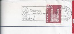 Swiss Pennant 'Sauvez Les Lépreux' Circled From Geneva In 1967. Leprosy. Medicine. Lepra. 2 Scan - Maladies