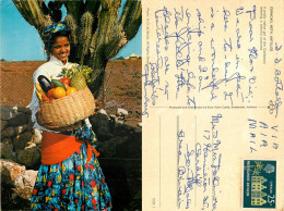 Pretty Native Girl, Curacao, Netherlands Antilles Postcard Posted 1980 Stamp - Curaçao