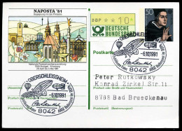 95057) BRD - SoST 8042 OBERSCHLEISSHEIM Vom 05.10.1991 Auf Postkarte PSo 6 - 100 J. Menschenflug, ARGE Ballonpost - BRD