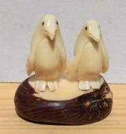 Statue En Corozo Sculpté - Couple De Pingouin - Sculptures